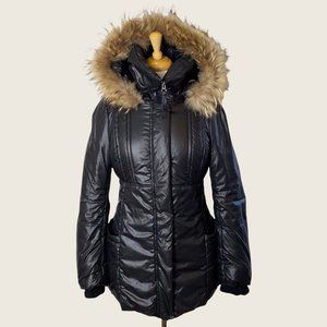 Mackage Black Puffer Parka with Fur Trim Hood and Leather Elbow Patches